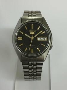 美品!希少!格安!SEIKO 5 セイコー ファイブ デイデイト 7S26-6000 黒文字盤 SS シルバー 自動巻き メンズ 腕時計 アンティーク