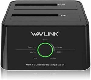 ブラック WAVLINK HDDスタンド USB3.0接続 2.5型 / 3.5型 SATA HDD/SSD対応 パソコンなし