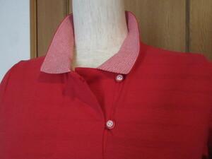 B)■デパート展開ブランド品■【CROCODILE クロコダイル】■涼しいシャリ感/綿100■赤ボーダー編み/ブランド刺繍■お洒落なポロシャツ