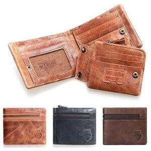 メンズ短財布 本革 牛革 レザー 革 二つ折り財布 財布 メンズ 二つ折り小銭入れ レザー大容量 カード ウォレット プレゼント CSN184