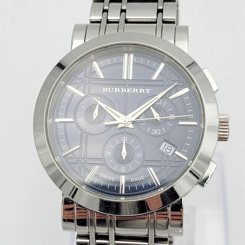 BURBERRY バーバリー BU1360 デイト クロノグラフ ネイビー文字盤 QZ 50m防水 メンズ腕時計 新品電池交換済み【NK6164】