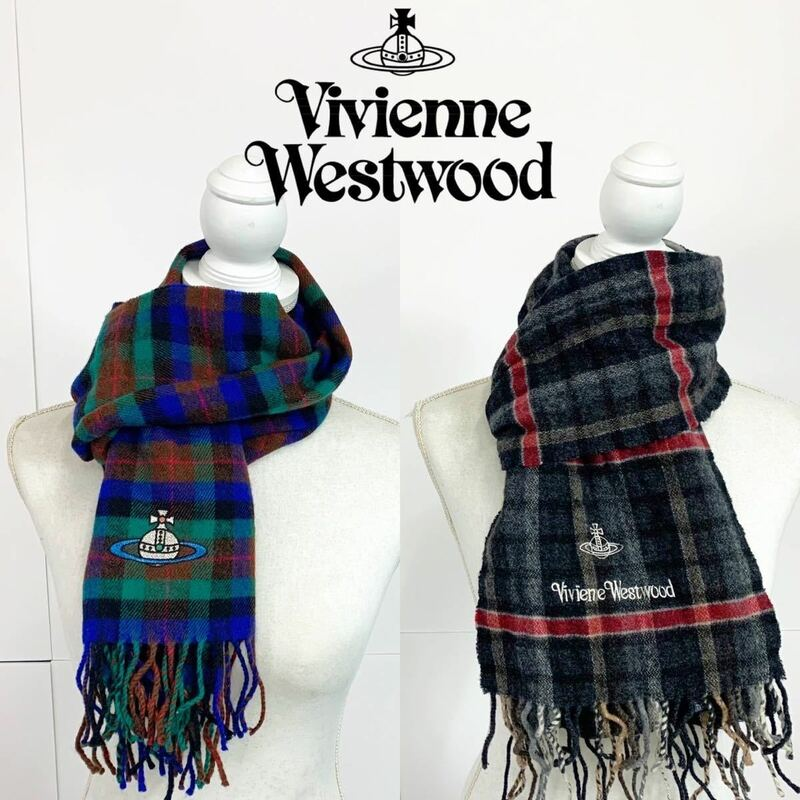 2本セット ヴィヴィアンウエストウッド マフラー 冬 チェック 緑 グレー Vivienne Westwood【NK6169】