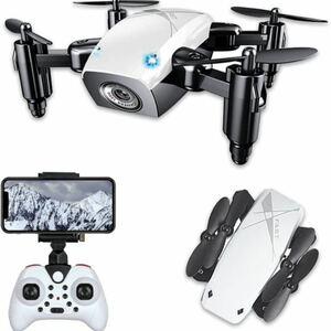 ドローン 200g未満 カメラ付き 小型 こども向け ドローン おもちゃ スマホ 入門機 日本語説明書 ケース付き (ホワイト)