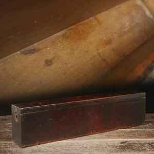CG946 時代物 古木材漆塗 木製刀箱 幅98.5cm・木造屏風箱・刀収納箱・時代箱・時代長方箱・長方収納箱・長方盒