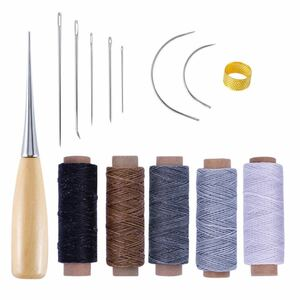 レザークラフト DIY 手縫い ツール ロウ引き糸 ワックスコード 14点セット
