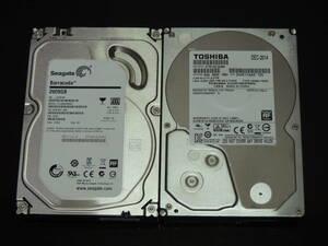 【2台まとめ売り/検品済み】Seagate 2TB HDD ST2000DM001 (16623時間) / TOSHIBA 2TB HDD DT01ACA200 (30402時間) 管理:j-32