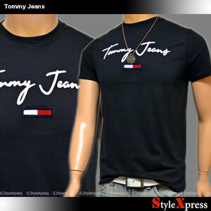 SALE トミージーンズ 黒 Sサイズ ロゴ Tシャツ トミーフラッグ トミーヒルフィガー TOMMY HILFIGER ブラック Tommy Jeans メンズ 正規品
