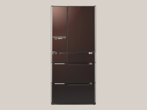 HITACHI クリスタルブラウン(XT) 電動引き出し 2012年購入 中古 冷凍冷蔵庫:R-B6700 6ドア 定格内容積670L