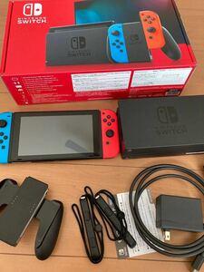 Nintendo Switch JOY-CON(L) ネオンブルー/(R) ネオンレッド本体セット美品 動作品