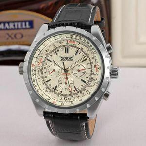 新 Jaragar 機械式メンズ腕時計ヴィンテージ 24 時間カレンダーデザイン自動革バンド腕時計男性レロジオ Masculino