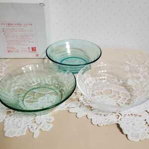 未使用 PINGU ミスタードーナツ ガラスボウル 皿 3枚セット ピングー ピンガ ロビ 食器 非売品
