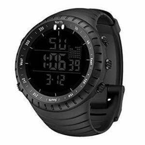限定価格!ブラック Senorsスポーツ腕時計 メンズデジタル時計電子LEDファッションアウトドアカジュアル防水腕時計 (GYKX