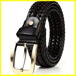 【未開封】 ブラック 革 バックル レザー カジュアル 【A級本革】 ビジネス メンズ 編み込み ベルト メッシュ JINSELF ゴールド