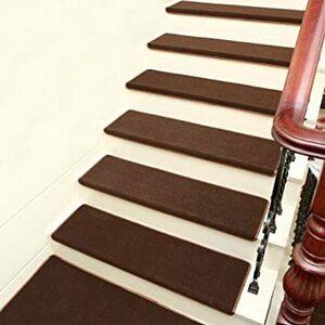 ブラウン KURASHI 階段マット 滑り止め 折り曲げ付 防音 シンプル モダン調 3枚セット