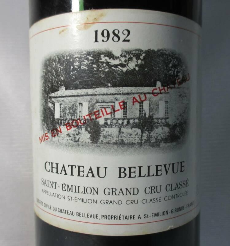 ★銘酒★古酒★1982 シャトー ベルヴュー、サンテミリオン グラン?クリュ、ジロンド★ワインにご理解のある方限定★