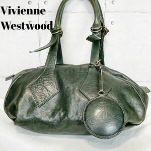 【人気】Vivienne Westwood ヴィヴィアン ウエストウッド レザー ミニボストン オーブ グリーン 緑 A4収納可