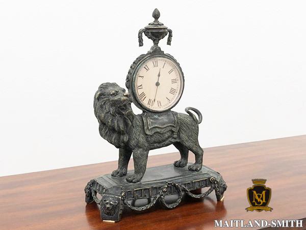 N9478【MAITLAND SMITH/メートランドスミス】ライオンクロック/イギリス/英国最高級/彫刻/クラシック/ハンドメイド/モダンデザイン