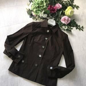 ☆ 5品購入で送料無料 23区 サイズ 40 長袖 ブラウス 薄手のジャケットにも チャコールブラウン ☆