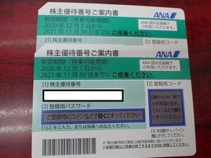【大黒屋】送料無料!!☆ANA 株主優待券 2枚 有効期限 2022年5月31日 番号通知可★