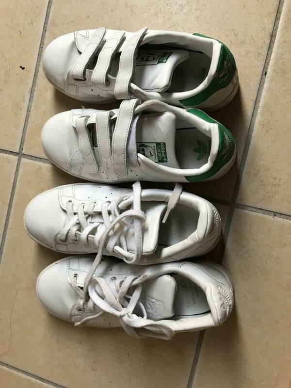 てぃーん中学生女の子におススメデザイン 通学靴2足セット アディダススタンスミス アディダス スクールシューズ ECO ホワイト