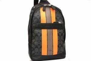 コーチ COACH ショルダーバッグ ボディバッグ F72353 ブラック オレンジストライプ レザー かばん メンズ レディース