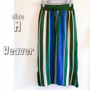 【Weaver】ウィーバー タイトスカート ペンシルスカート ストライプ 緑 レディース 上品 オフィス 秋服 M