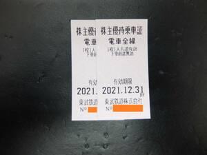 【即決】2枚セット販売 数量1~9◇東武鉄道 株主優待乗車証(きっぷ) 2枚セット 2021年12月31日まで 太田、桐生、日光、鬼怒川方面へ