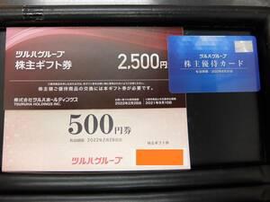 ツルハグループ 株主優待 株主優待カード+株主ギフト券2500円+500円=3000円分