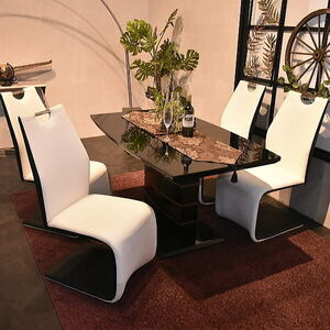 ST11-16M02-KC=【新品】エナメル塗装 伸張式強化ガラスダイニングテーブル5点セット食卓【テーブルBKチェアWH/BK4脚イス人気高級