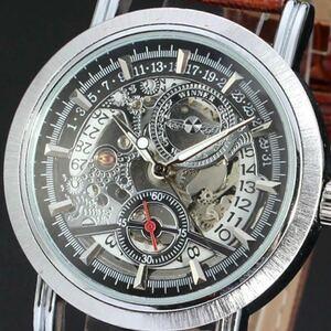 ◆新品・未使用◆高級機械式腕時計デイト黒 クロノグラフ アンティーク 正規品 クオーツ 金属 革 ウオッチ フルスケルトン カラトラバ
