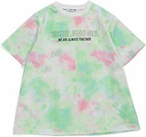 グリーン 130 タイダイプリントロング丈Tシャツ