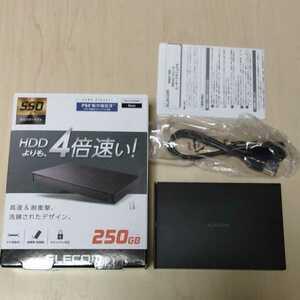 ◎ELECOM 外付けポータブルSSD 250GB ブラックESD-EJ0250GBK