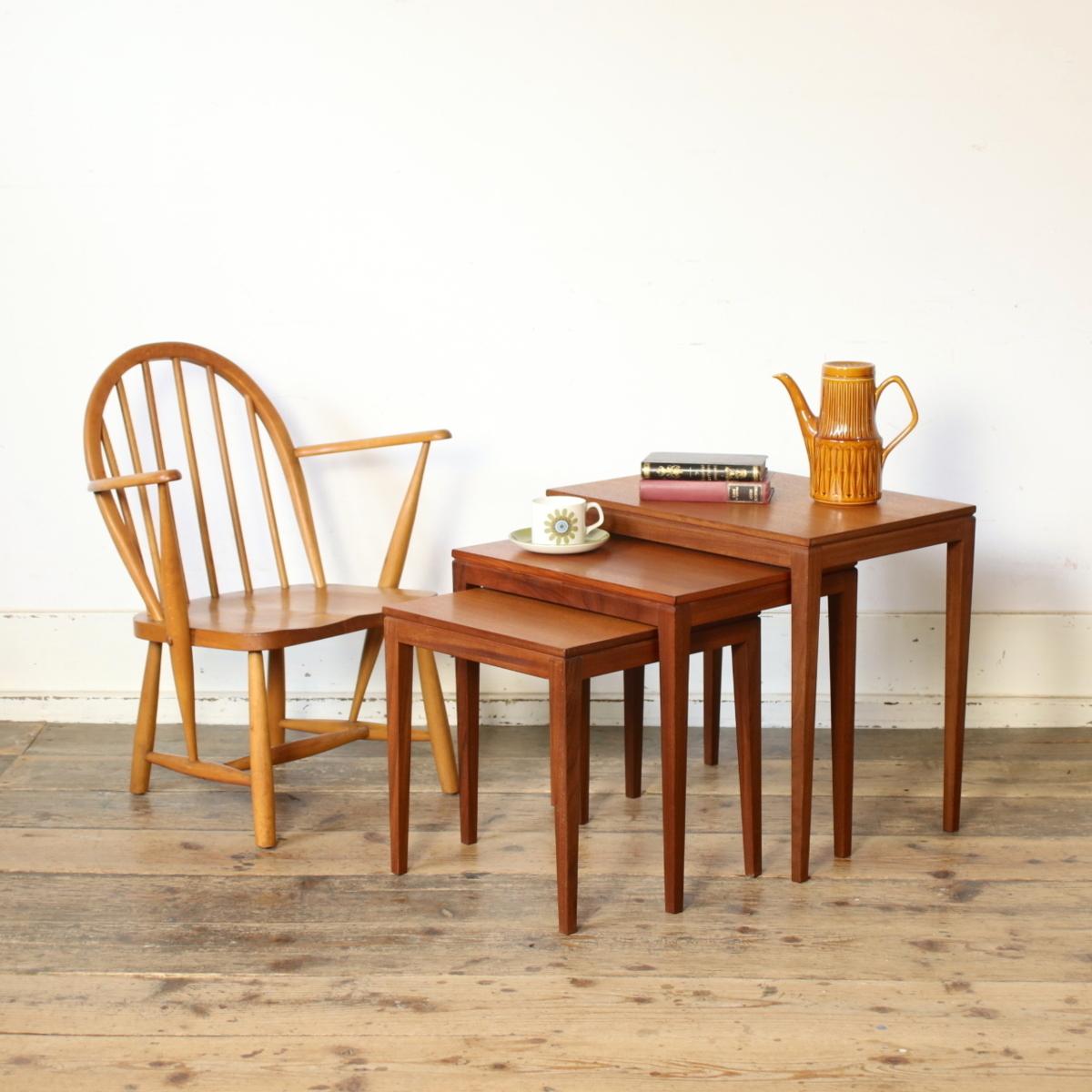 【メンテ済・美品】イギリス 1960's ビンテージ ネストテーブル/コーヒーテーブル センターテーブル アンティーク 北欧 英国 店舗什器