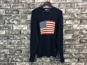 USA古着 ラルフローレン 星条旗 コットン ニット セーター L 90年代 国旗 ネイビー RL ポロラルフ 90s 丸首 ロゴ ワンポイント