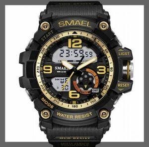 【※超特別価格1円から※】海外人気ブランド SMAEL S-SHOCK メンズ高品質腕時計 50M防水 アナログ&デジタル ブラックゴールド ger