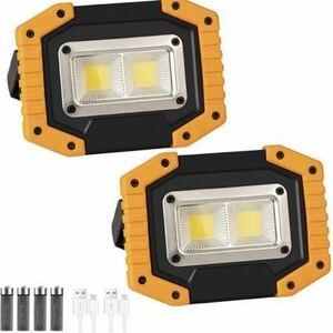 LED投光器,2パックCOB 30W 1500LM フラッドライト,3点灯モード、USB充電式、180°角度調整機能、防水ライト、自動車整備、キャンプ、旅行