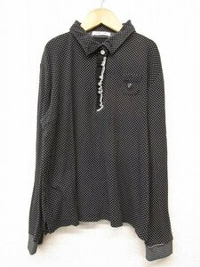 k5094:バジエVAGIIEレディース長袖ポロシャツ40カットソーゴルフウェア/黒ドット水玉ストーン付/日本製:35