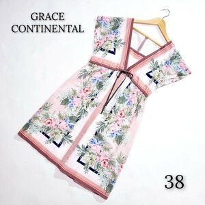 GRACE CONTINENTAL グレースコンチネンタル 半袖 花柄ワンピース ピンク
