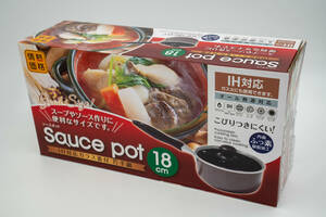 【新品・未使用】IH対応 ガラス蓋付 片手鍋 18cm Sauce pot