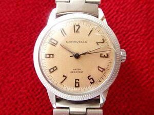 貴重★1960's ブローバ キャラベル 手巻きアンティーク腕時計 伸縮バンド付 シルバーカラー 3針 レア メンズ男性