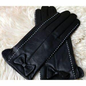 新品 限定★ 高級ラムレザーが贅沢な手袋 ★黒 蝶結び ladys 女性用 婦人 グローブ