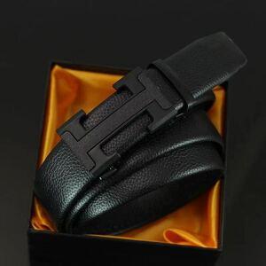 メンズ ベルト 自動ロック Hバックル ブラック