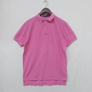 M726 サイズ S POLO Ralph Lauren ポロ ラルフローレン ワンポイント ロゴ 鹿の子 ポロシャツ 半袖 ピンク ビンテージ 古着