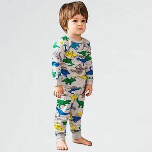 未使用 新品 上下セット パジャマ 2-WY (カラ-恐竜, 130) 綿100% 部屋着 寝間着 上下セット 2-11歳 男の子 半袖 長袖 子供服