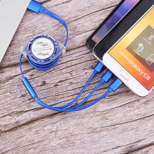 3in1 巻き取り式 急速充電ケーブル iPhone/android/type -c 対応 ブルー