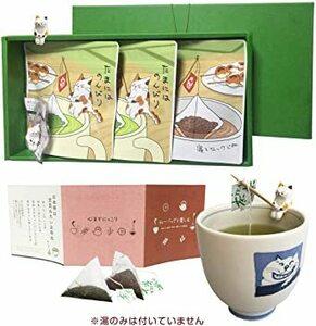ねこ茶 ギフト セット(深蒸し茶・ほうじ茶)猫のフィギュア(2個)日本 お茶 お土産 誕生日 ティーバッグ 可愛い プレゼント
