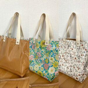 花柄バッグ クリアバッグ ショルダーバッグ トートバッグ 2wayバッグ ビニールバッグ ハンドメイド