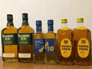 6本セット:タラモアデュー正規品アイルランド700ml×2本;サントリーAo碧350ml×2本;サントリー角瓶700ml×2本;