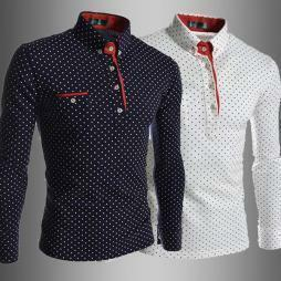 新品 おしゃれ Tシャツ メンズ ゴルフシャツ 長袖 M-3XL ゴルフウェア / ポロシャツ 白 k01253 黒UI97