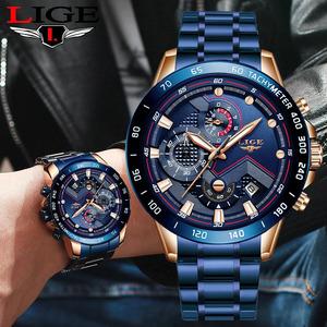 新品 Ligeビジネスメンズ腕時計高級ブランドブルーステンレス鋼腕時計クロノグラフ軍軍事クォーツ時計レロジオmascDI41